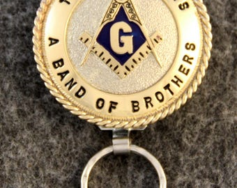 IN STOCK UNLESS Personalized Custom handcrafted Masonic key chain.  Master Emblem with Gold G - Blue Background - A Band Of Brothers