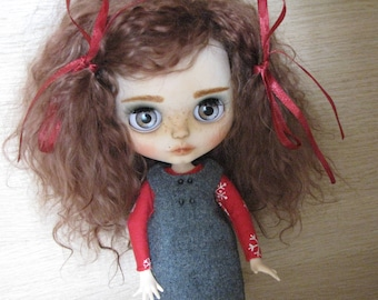 Custom Blythe ooak doll factory(tbl) base with rerooted goat hair