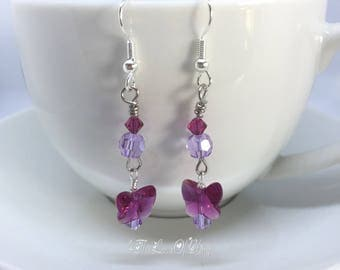 Crystal Drop Earrings made with Swarovski CrystalFuchsia Butterflies and fuchsia and violet crystals