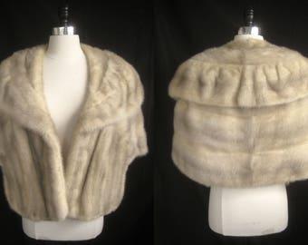 Glamorous Azurene Cerulean MINK Fur STOLE Cape Wrap Coat Jacket ~ Winter Wedding ~ Bridal ~ White Tourmaline Cream Ivory
