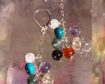 Chakra Healing Earrings with Garnet, Carnelian, Citrine, Moss Agate, Amethyst, Genuine Turquoise and Rainbow Moonstone