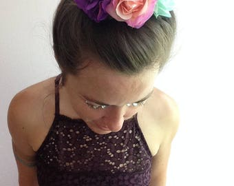 Multicolored rose bun wrap, floral bun crown on elastic band with pink, purple, and aqua roses, hippie floral hair accessory