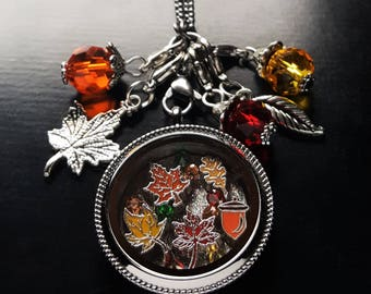Fall Floating Locket Necklace-Fall Leaves-Gift Idea For Women