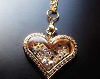 Forever Love Floating Locket Necklace-Available in Silver, Gold or Rose Gold-Gift Ideas for Women
