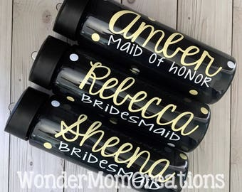 Bridal Party Personalized Water Bottle; Bridesmaid Water Bottles; Bride Water Bottle; Maid of Honor Water Bottle; Bachelorette Party Bottle