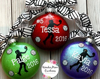 Volleyball Ornament Personalized; Girl Volleyball Player Ornament;  Volleyball Team Ornament; Lady Volleyball Player