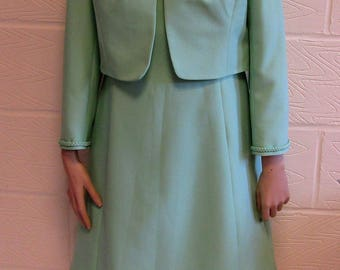 Pretty 1970's mint green Peggy French Couture dress suit.