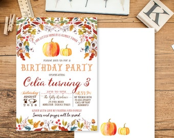 Fall Birthday Invitation, Autumn Pumpkin Invitation, Birthday Invitation, Pumpkin Birthday Invite, Autumn Birthday Invitation, CIT