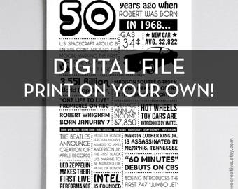 Personalized 50th Birthday Poster, 1968 Events - DIGITAL FILE - Print on your own!