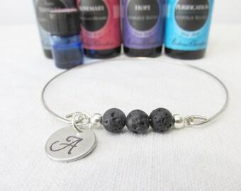 Essential Oil Diffuser Bracelet, Lava Bead Bangle, Initial Bracelet, Lava Beads, Diffuser Bracelet, aromatherapy,Free Essentail Oil Sample