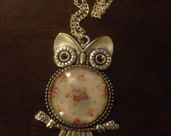 Flower Cabouchon Owl Necklace