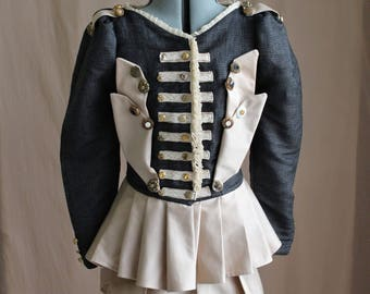 Two Piece Steampunk Circus Costume Black or White Jacket with Pleated Mini Skirt Custom Size