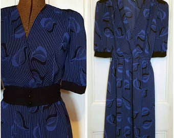 Vintage '80s Blue & Black Stripes with Leaves Print, Sheer, Midi Length, Short Sleeves, Small/Extra Small