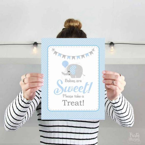 Babies Are Sweet Please Take A Treat Party Sign, Printable Blue and Grey Elephant Baby Shower Sign, Instant Download -D935 BBEB1