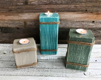 SET OF 3 wooden candle holders, Tea light candle holders, Rustic home decor, Farmhouse candle holders, Farmhouse decor, Wood candle holder