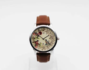 Birds and floral,Vintage Bird watch,wrist watch, women Watch, Leather Watch