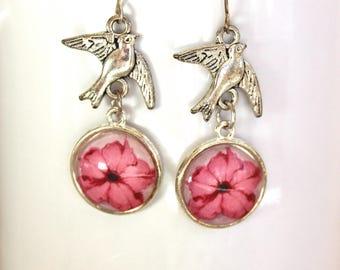 Pretty Pink Petunia Flower Floral Earrings Silver Finish Pierced Ear Dangle Earrings with Bird Charms