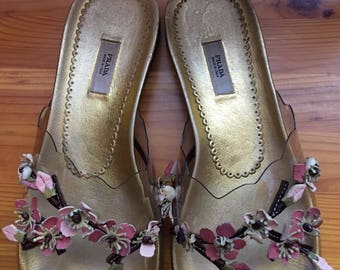Prada slippers decorated with leather flovers Size EU 37 - UK 4