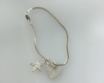 Heart Starfish Bracelet.  Sterling Silver Snake Chain Bracelet With Heart and Starfish Charms