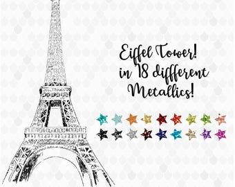 Eiffel Tower Clipart, Eiffel Tower Digital, Eiffel Tower Metallic, Paris Clipart, Travel Clipart, Decal for Shops, Glitter, Commercial Use
