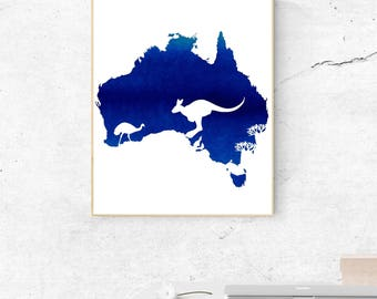 Watercolor Blue Australia Continent Wall Art - Australia Print - Wall Decor - World Country - Travel Poster  - Digital Artwork