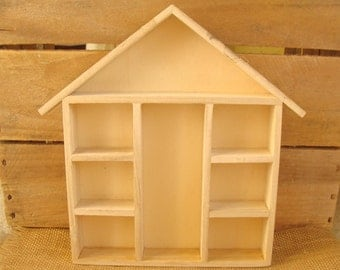 Unfinished wood doll house or knick knack storage display - 9.5