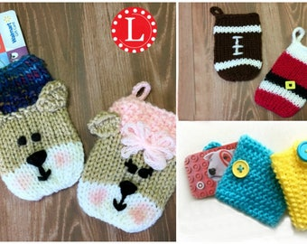 Loom Knitting PATTERNS 5 Gift Card Holders | Teddy Bear / Football / Christmas Santa Clause | 24-peg loom | with Video Tutorial | Looms hat