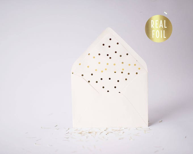 gold foil confetti polka dot lined envelopes  (sets of 10)  // gold foil modern envelope liners wedding shower party invitation invite