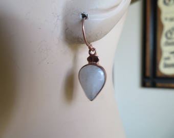 Handcrafted 11.72ctw Genuine Moonstone 14K Rose Gold/925 Sterling Silver French Ear Wires Dangle Earrings  **Prices Slashed