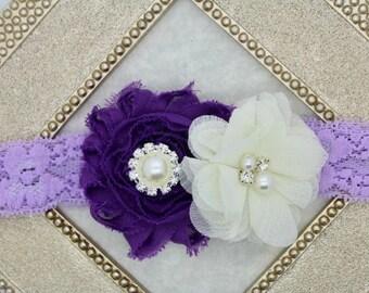 Violet headbands, violet and ivory headbands, girls Easter headbands, Easter toddler headbands, violet flower headband, hair accessories