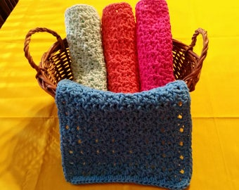 "CROCHETED COTTON WASHCLOTHS - Set of Four, Electric Blue, Hot Pink, Coral and Mint Green, 8"" Length, 8"" Width.  On Sale Now!"
