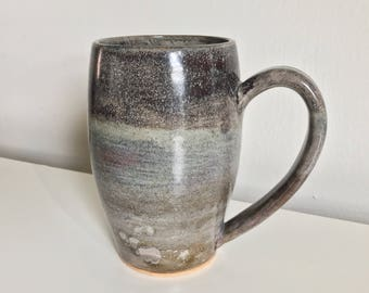 14 oz Handmade Mug / Wheel Thrown  / Gray / Grey / Brown