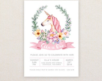 Girls Birthday Party Invitations.Unicorn in floral wreath. I Customize, You Print.