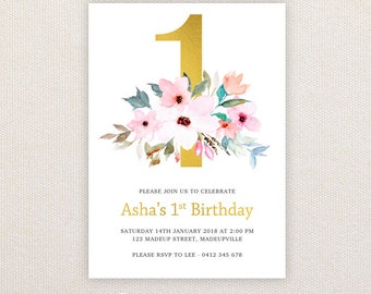 1st Birthday Party Invitations. Gold and floral. I Customize, You Print.