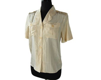 Vintage 1990s Christie & Jill Beige Silk Short Sleeve Safari / Military Style Shirt / Blouse (Size 4P)