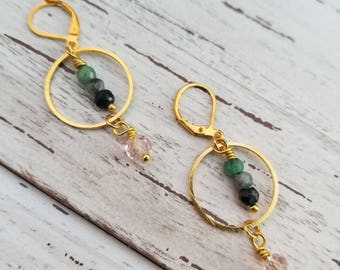 Gold Circle Hoop Dangle Earrings with Semiprecious Emerald Crystal Accents