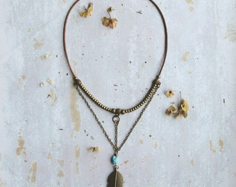 Boho necklace, feather necklace, hippie necklace, boho jewelry, geometric necklace, bohemian jewelry, gift for her, gemstone necklace, sale