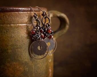Dark Brown Agate Earrings • Stones Cluster Earrings • Raw Copper Earrings • Hand Hammered Disc Earrings • Rustic Bohemian Earrings