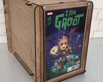 "Great Gift for Guardians of the Galaxy Fans - Comic Storage Box with Display including ""Groot"" Comic"