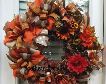 Thanksgiving Wreath, Deco Mesh Fall Wreath, Elegant Fall Wreath, Mantel Wreath, Fall Door Hanger ,Front Door Wreath