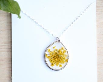 Yellow Queen Anne's Lace Necklace Pressed Flower Jewelry