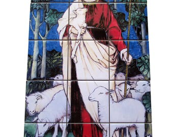 Religious wall art - Tile Mural - Jesus the Good Shepherd - mosaic - catholic wall art - religious gifts - catholic gifts - devotional art
