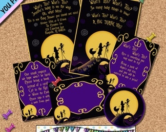 Nightmare before Christmas BABY SHOWER INVITATION Party Package Invites Halloween Horror Movies Other Party Supplies Sold Seperately