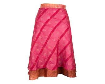 Pink Silk Skirt, Wrap Skirt, Unique Clothing, Travel Skirt, Reversible Skirt, Plus Size Skirt, Silk Wrap Skirt, Silk Skirt