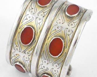 Antique / Vintage Sterling Silver Turkoman (Teke Tribe) Bracelet - Book Piece