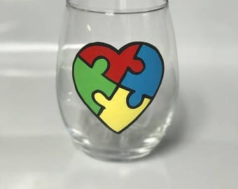 Autism Awareness hand painted stemless wine glass READY TO SHIP