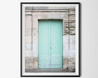 Blue Door Print - Aqua Blue, Rustic Door, France Art Print, Cottage Wall Art, Boho Wall Art, Doorway, Provence, France Photography