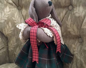 Floppy Eared Brown Wool Fabric Bunny Rabbit, Green Plaid Dress, Lace Doily Shawl, Red Plaid Ribbon, 1987, Signed Kriescher