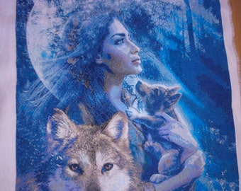 Woman with wolfs. Cross Stitch Embroidery.