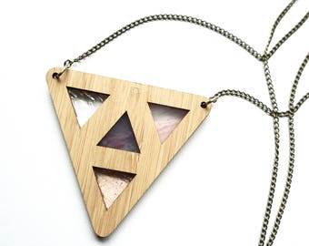 Purple Stained Glass Triangle Wooden Pendant Necklace